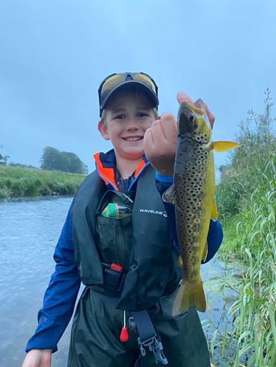 Boy with Brown trout on Slaney